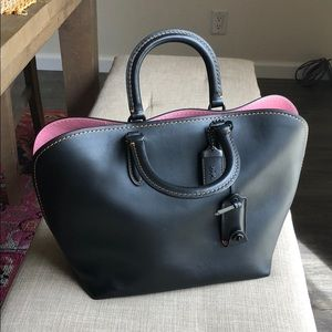 COACH Black Leather Satchel with Pink Interior